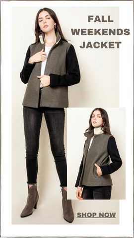 FALL WEEKENDS JACKET THML ZIP UP COLOR BLOCK FALL COAT