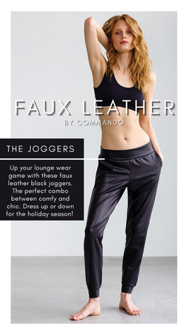FAUX LEATHER JOGGER COMMANDO STRETCHY COMFORTABLE PANTS