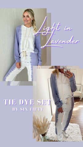 TIE DYE HOODIE LAVENDER AND WHITE SOFT LOUNGEWEAR SETS