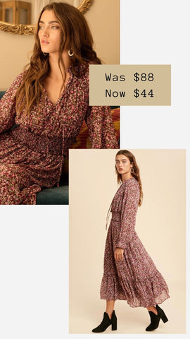 MAVE MIDI DRESS IN LOOM FLORAL HOLIDAY PARTY DRESSES