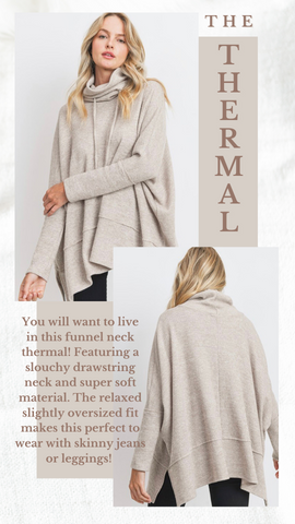 FUNNEL NECK THERMAL MINT EXCLUSIVES WARM AND COZY TOPS