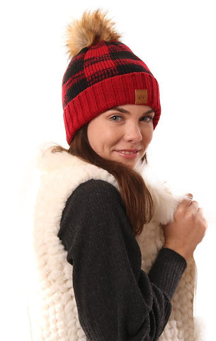 HATS COZY KNIT FAUX FUR POM POM FOLDOVER BUFFALO PLAID RED AND BLACK WARM WINTER BEANIE
