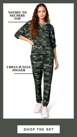 NOTHIN' TO SEE HERE TOP BB DAKOTA CAMO LOUNGE SETS