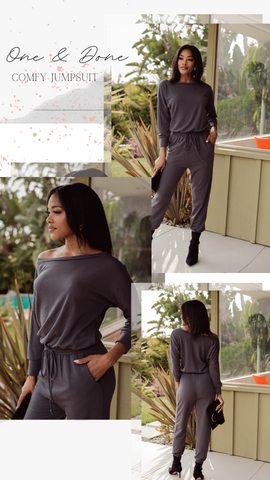 QUARTER SLEEVE JUMPSUIT VERONICA M CHARCOAL GREY ROMPER ONE PIECE SUITS