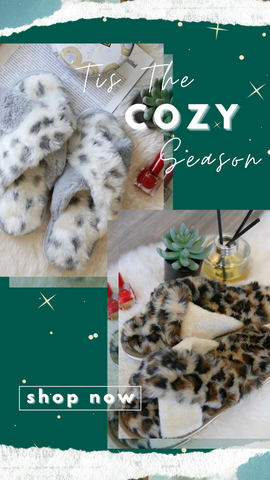 COZY LEOPARD SLIPPERS MINT EXCLUSIVE FUZZY ANIMAL PRINT SLIPPERS