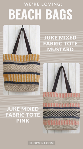 JUTE MIXED FABRIC TOTE LOVESTITCH STRIPED COLORFUL HANDBAGS