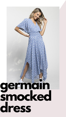 GERMAIN SMOCKED DRESS BISHOP AND YOUNG BLUE MIDI SPRING DRESSES