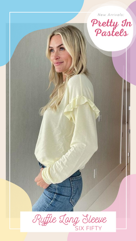 RUFFLE LONG SLEEVE SIX FIFTY SUPER SOFT YELLOW SPRING TOPS