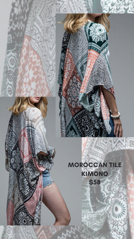 MOROCCAN TILE KIMONO MINT EXCLUSIVE PEACH AND SAGE BEACH COVER UP