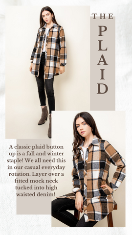 IN THE VINEYARD JACKET THML PLAID FLANNEL SHIRT JACKET