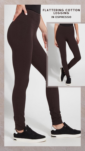 FLATTERING COTTON LEGGING LYSSE' ESPRESSO BROWN PANTS