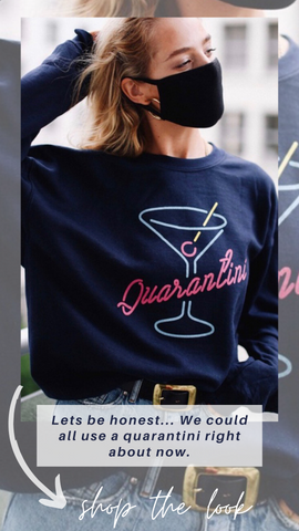 QUARANTINI SWEATSHIRT MINT EXCLUSIVE PULLOVER TOP WITH NEON GRAPHICS