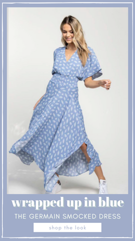 GERMAIN SMOCKED DRESS BISHOP AND YOUNG BLUE AND WHITE MIDI DRESSES
