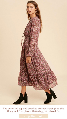 MAVE MIDI DRESS IN LOOM FALL FLORAL BURGUNDY AND PINK DRESSES
