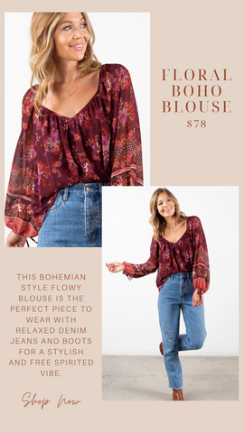 FLORAL BOHO BLOUSE LOVESTITCH FALL FLORAL PRINT FLOWY TOPS