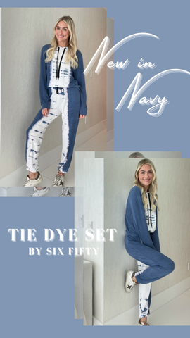 TIE DYE JOGGER SIX FIFTY NAVY AND WHITE SPRING LOUNGEWEAR SETS