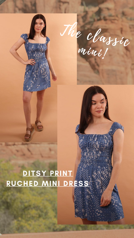 DITSY PRINT RUCHED MINI DRESS VINTAGE HAVANA SUMMER PARTY DRESS