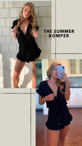 SUMMER ROMPER RUFFLE JUMPER SUMMER BLACK GOING OUT LOOKS
