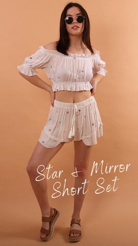STAR AND MIRROR CROP TOP VINTAGE HAVANA MATCHING POOLSIDE SET