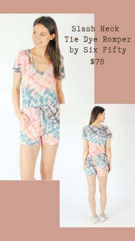 SLASH NECK TIE DYE ROMPER SIX FIFTY JUMPER SUMMER BEACH OUTFIT