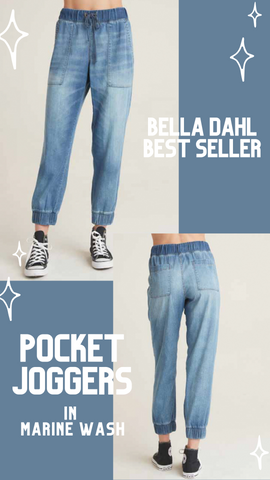 POCKET JOGGER BELLA DAHL LIGHT BLUE DENIM WASH COMFY SOFT CASUAL PANTS