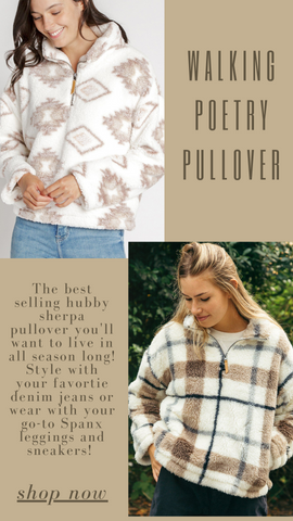WALKING POETRY PULLOVER THREAD AND SUPPLY PLAID FLECE PULLOVER TOPS