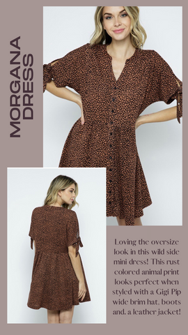 MORGANA DRESS IN THE BEGINNING ANIMAL PRINT FALL DRESSES