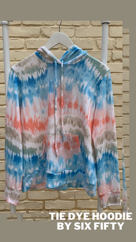 TIE DYE HOODIE SIX FIFTY LIGHTWEIGHT SUMMER LOUNGING TOP
