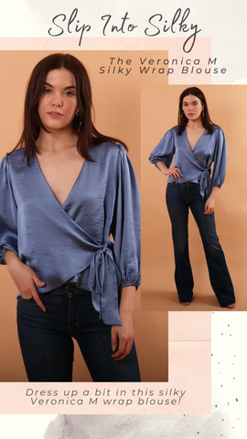 PUFF SLEEVE WRAP BLOUSE VERONICA M GOING OUT BLUE BLOUSE