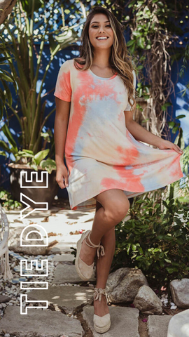TEE SHIRT DRESS VERONICA M SHERBET TIE DYE SUMMER DRESS