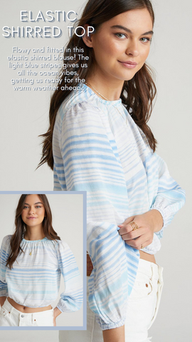 ELASTIC SHIRRED TOP BELLA DAHL BLUE AND WHITE STRIPED SPRING BLOUSES