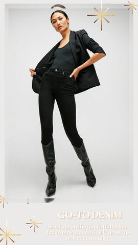 HIGH WAIST ANKLE SKINNY 7 FOR ALL MANKIND BLACK STRETCHY JEANS