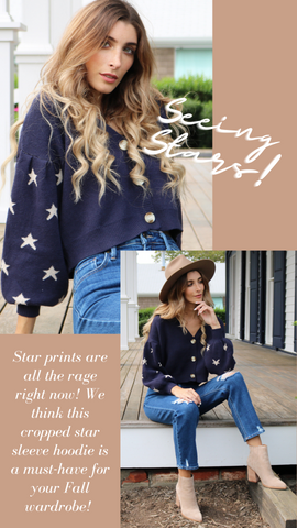 STARRY NIGHT CARDI SAYLOR BALLOON SLEEVE STAR PRINT FALL SWEATER