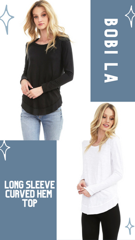 LONG SLEEVE CURVED HEM TOP BOBI LA SOFT COTTON CASUAL FALL TOPS