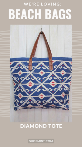 LARGE TOTE BAG LOVESTITCH RED WHITE AND BLUE SUMMER TOTE BAGS