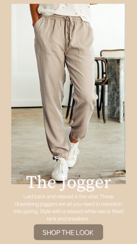 SERENA JOGGER THREAD AND SUPPLY SOFT LIGHTWEIGHT SPRING NEUTRAL JOGGER PANTS