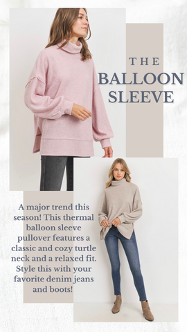 BALLOON SLEEVE THERMAL MINT EXCLUSIVE CASUAL WINTER TOPS