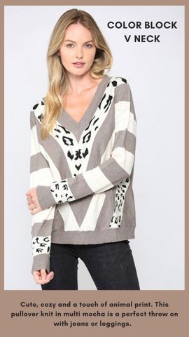 COLOR BLOCK V NECK FATE MIXED PRINT ANIMAL PRINT SWEATER