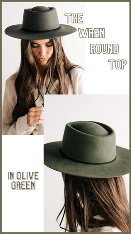 WREN ROUND TOP HAT GIGI PIP OLIVE GREEN FALL HATS