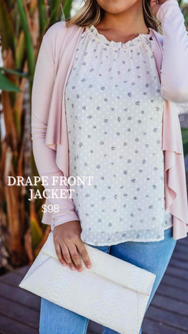 DRAPE FRONT JACKET VERONICA M PINK SPRING OPEN FRONT CARDIGAN SWEATERS