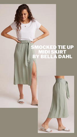 SMOCKED TIE UP MIDI SKIRT BELLA DAHL SIDE SLIT SUMMER SKIRT