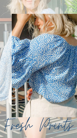 CHARLOTTE PEASANT TOP PRINTED SUMMER BLOUSE
