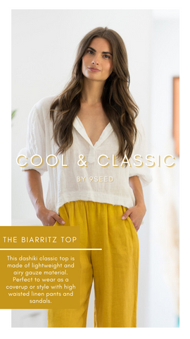 THE BIARRITZ TOP 9SEED COTTON WHITE SPRING BLOUSES