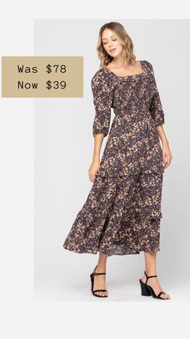 SILAS SQUARE NECK MIDI DRESS CALISTA FLORAL HOLIDAY PARTY DRESSES