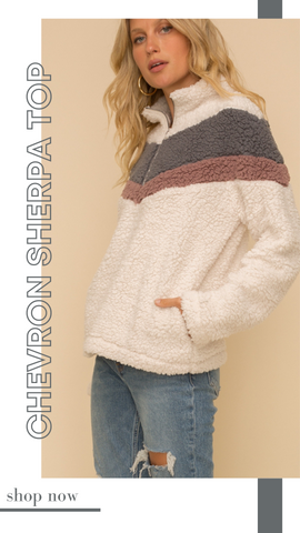 CHEVRON SHERPA TOP HEM AND THREAD SHERPA WARM AND COZY PULLOVER TOP