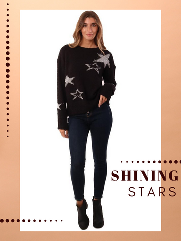 HEM AND THREAD SWEATERS STAR PRINTED COZY BLACK SILVER KNIT