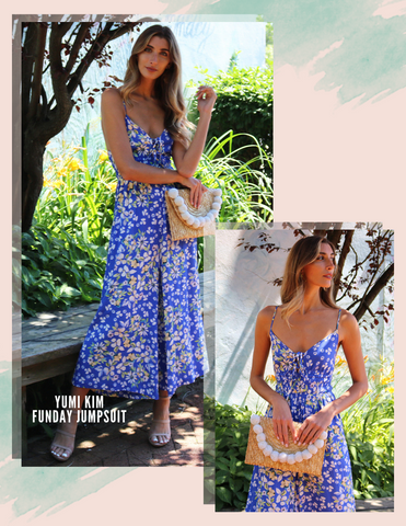 YUMI KIM JUMPSUITS LACE UP NECK CROPPED WIDE LEG BLUE FLORAL PRINT JUMPSUIT