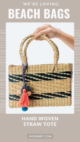 HAND WOVEN STRAW TOTE LOVESTITCH POM POM STRIPED TASSEL SHELL SUMMER TOTE BAGS