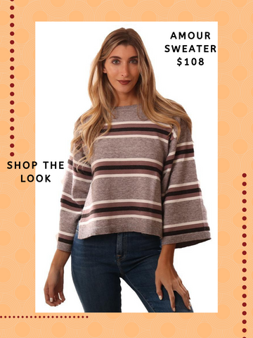 CUPCAKES AND CASHMERE SWEATERS LONG WIDE SLEEVE STRIPED CREW NECK KNIT