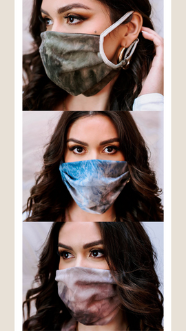 FACE MASK VERONICA M BLUE PINK AND OLIVE TIE DYE MASKS